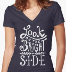 Look On The Bright Side Women's Fitted V-Neck T-Shirt