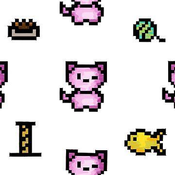 8-Bit Kitty Pattern by DroopyFruit