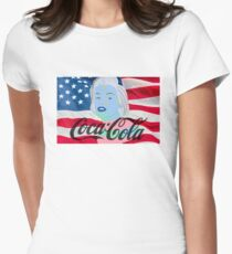 Marilyn Monroe American Flag Graphic  Women's Fitted T-Shirt