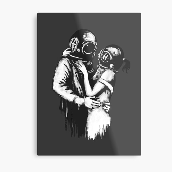 Banksy graffiti Love Deep Loving and embracing couple with diving helmets on dark gray background HD HIGH QUALITY ONLINE STORE Metal Print