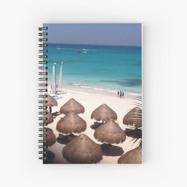 #beach #water #travel #sea #sand #tropical #sky #island #seascape #relaxation #horizontal #watersedge #nopeople #exoticism #bayofwater #sun #sunny #touristresort #tourism #vacations Spiral Notebook