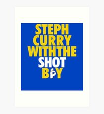 Steph Curry With The Shot Boy [With 3 Sign] Gold/White Art Print