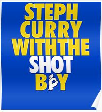 Steph Curry With The Shot Boy [With 3 Sign] Gold/White Poster