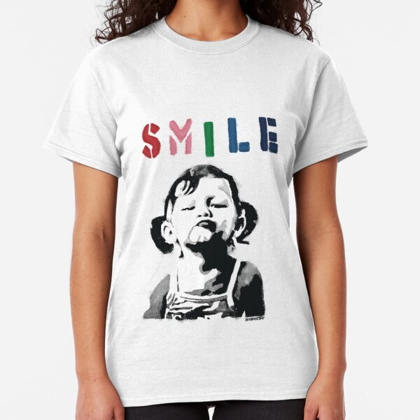 Banksy graffiti Quote SMILE with girl not smiling Girl Power resistance HD HIGH QUALITY ONLINE STORE Classic T-Shirt
