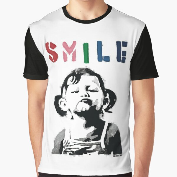 Banksy graffiti Quote SMILE with girl not smiling Girl Power resistance HD HIGH QUALITY ONLINE STORE Graphic T-Shirt