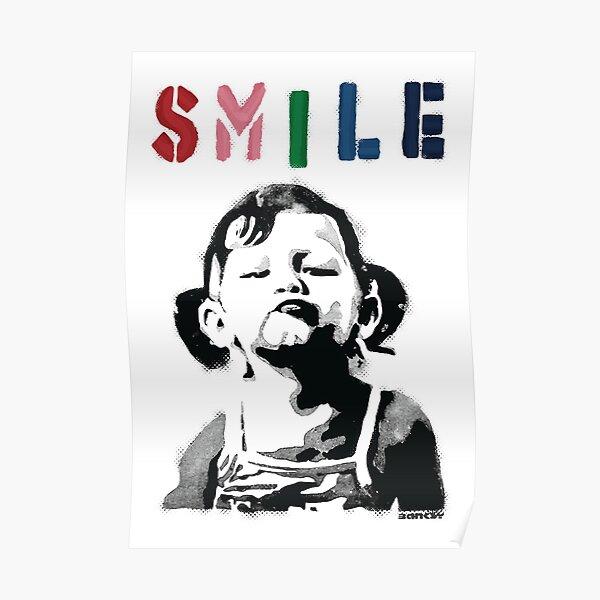Banksy graffiti Citer SMILE avec une fille qui ne sourit pas Girl Power resistance HD BOUTIQUE EN LIGNE DE HAUTE QUALITE Poster