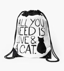 All You Need Is Love and A Cat Drawstring Bag