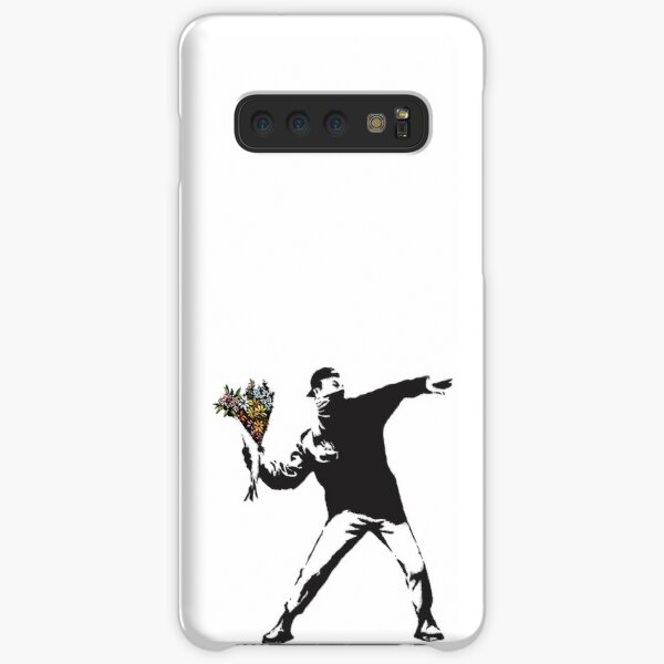 Banksy graffiti Protest anarchist throwing flowers Thrower Make Art not war on white background HD HIGH QUALITY ONLINE STORE Samsung Galaxy Snap Case