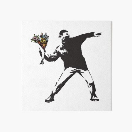 Banksy graffiti Protest anarchist throwing flowers Thrower Make Art not war on white background HD HIGH QUALITY ONLINE STORE Art Board Print
