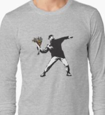 Banksy graffiti Protest anarchist throwing flowers Thrower Make Art not war on white background HD HIGH QUALITY ONLINE STORE Long Sleeve T-Shirt