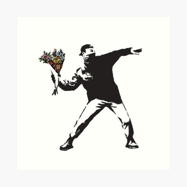 Banksy graffiti Un anarchiste protestant lançant des fleurs Lance-toi, fais de l'art, pas la guerre sur fond blanc Impression artistique