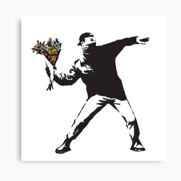 Banksy graffiti Protest anarchist throwing flowers Thrower Make Art not war on white background HD HIGH QUALITY ONLINE STORE Canvas Print