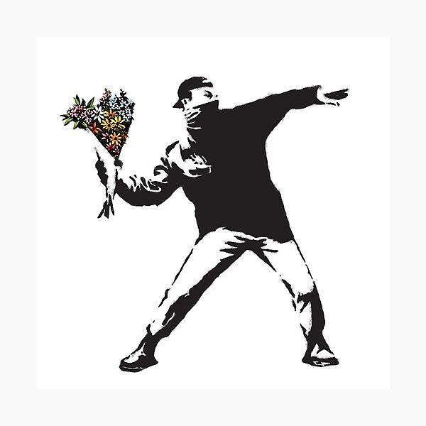 Banksy graffiti Protest anarchist throwing flowers Thrower Make Art not war on white background HD HIGH QUALITY ONLINE STORE Photographic Print