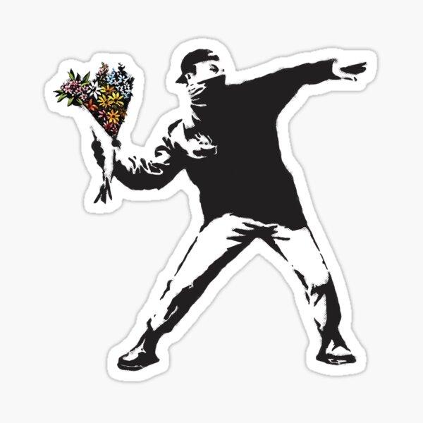 Banksy graffiti Un anarchiste protestant lançant des fleurs Lance-toi, fais de l'art, pas la guerre sur fond blanc Sticker