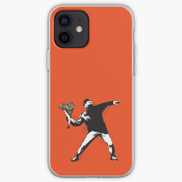 Banksy graffiti Protest anarchist throwing flowers Thrower Make Art not war on orange background HD HIGH QUALITY ONLINE STORE iPhone Soft Case