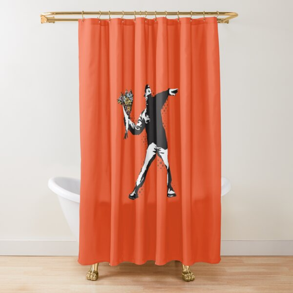 Banksy graffiti Protest anarchist throwing flowers Thrower Make Art not war on orange background HD HIGH QUALITY ONLINE STORE Shower Curtain