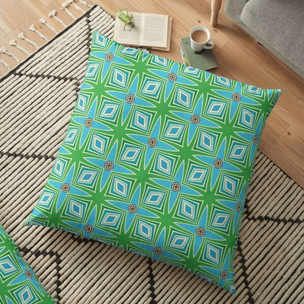 Midcentury style blue and green pattern Floor Pillow