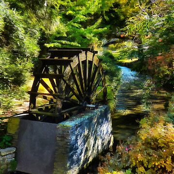 Das Replik-Wasserrad auf der Mühleninsel von PictureNZ