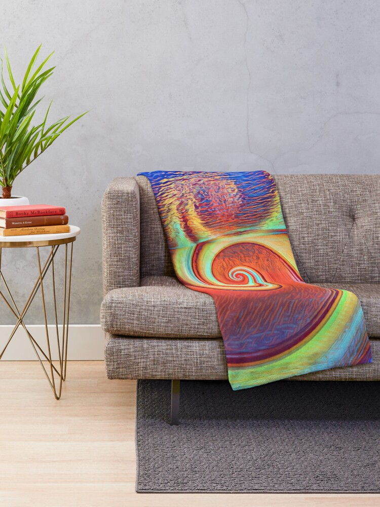 Alternate view of Fibonacci abstract reflections Throw Blanket