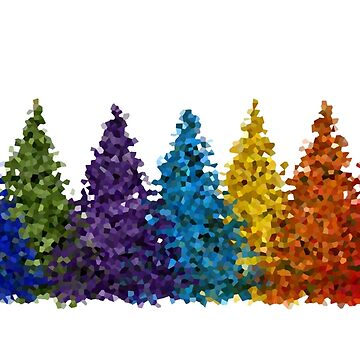 Colorful Christmas Trees by tacostudio
