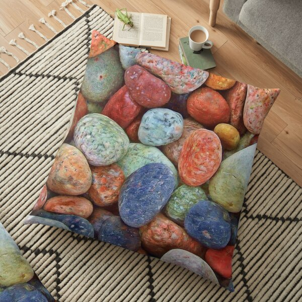 Colorful pebbles Floor Pillow