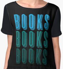 BOOKS BOOKS BOOKS in blue Chiffon Top