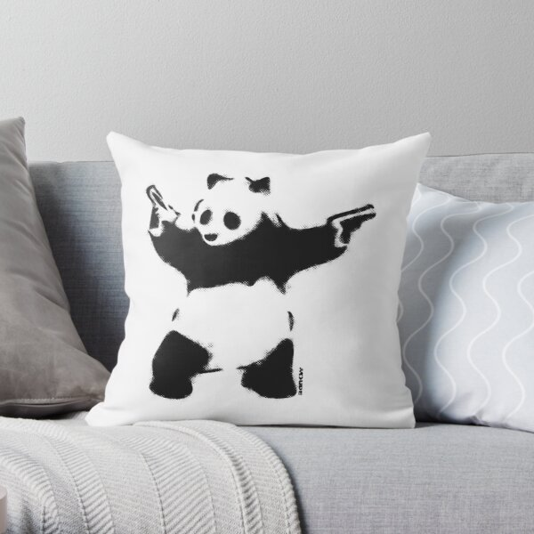 Banksy Panda with guns black and white Graffiti Street art with Banksy signature tag on white background HD HIGH QUALITY ONLINE STORE Throw Pillow