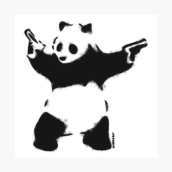 Banksy Panda with guns black and white Graffiti Street art with Banksy signature tag on white background HD HIGH QUALITY ONLINE STORE Photographic Print