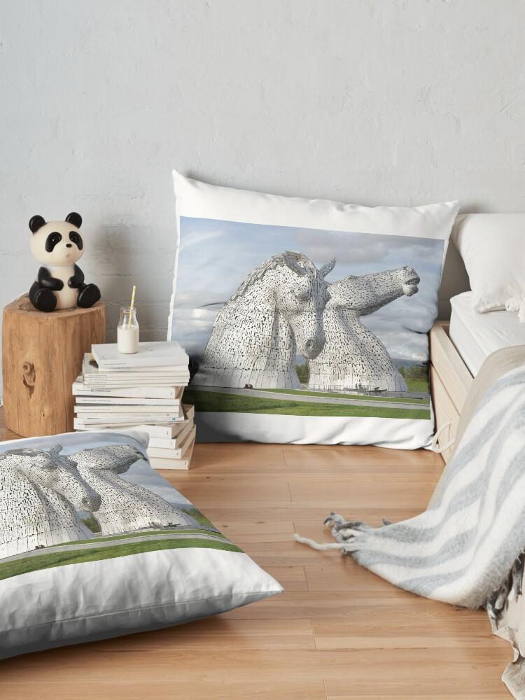 Alternate view of the Kelpies , Helix Park , Grangemouth  43112 Floor Pillow