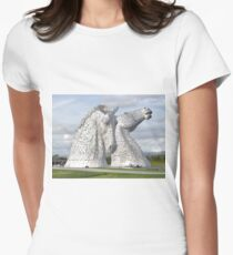 the Kelpies , Helix Park , Grangemouth  43112 Women's Fitted T-Shirt