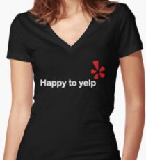 Happy To Yelp Women's Fitted V-Neck T-Shirt