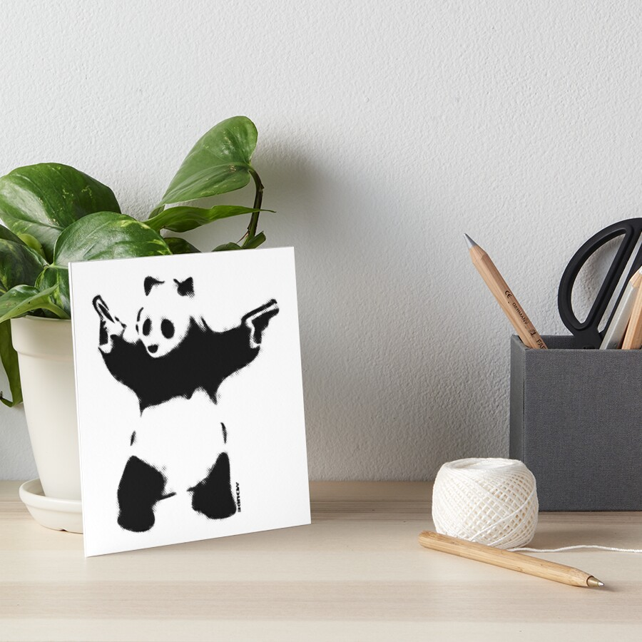 Banksy Panda with guns black and white Graffiti Street art with Banksy signature tag on white background HD HIGH QUALITY ONLINE STORE Art Board Print