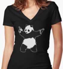 Banksy Panda with guns black and white Graffiti Street art with Banksy signature tag on white background HD HIGH QUALITY ONLINE STORE Women's Fitted V-Neck T-Shirt