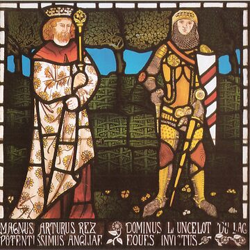 Arthur and Lancelot vintage stained glass art by Geekimpact