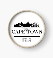 CAPE TOWN SOUTH AFRICA BLACK SILHOUETTE SKYLINE ART Uhr