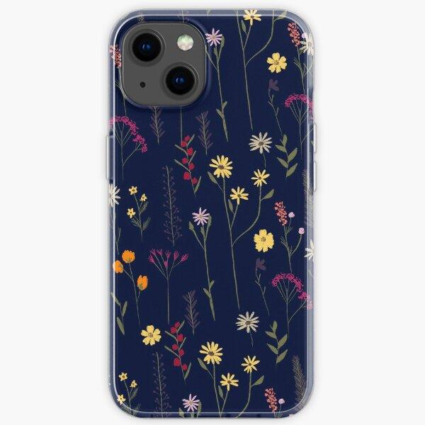 Hand gezeichnetes nettes getrocknetes gepresstes Blumenillustration Marineblau durch Girly Trend iPhone Flexible Hülle