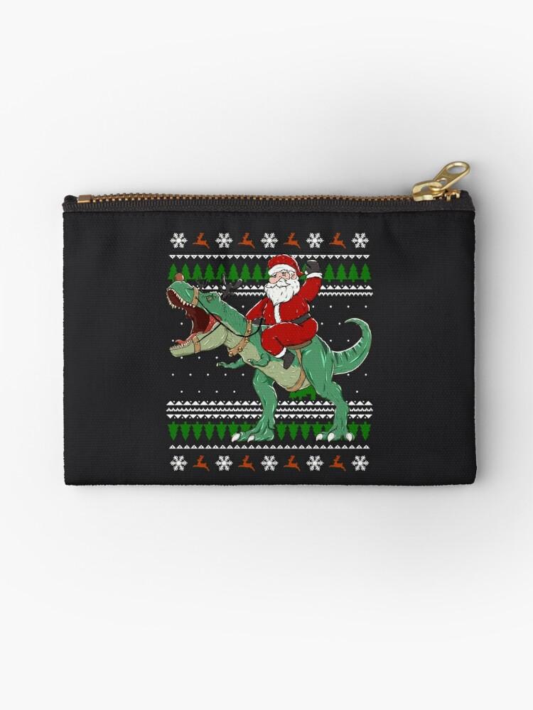 T-Rex Santa Pattern Canvas Coin Purse Small Cute Wallet Bag with Zip