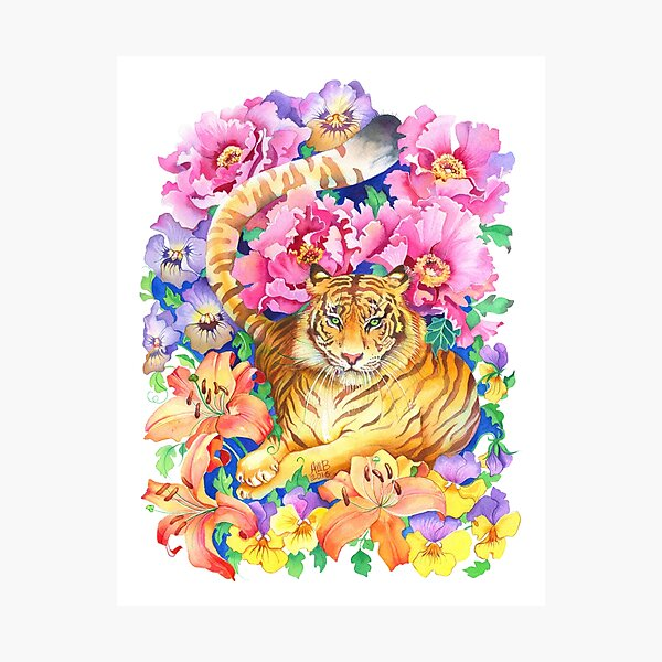 Tiger Chinese Zodiac Watercolor Photographic Print