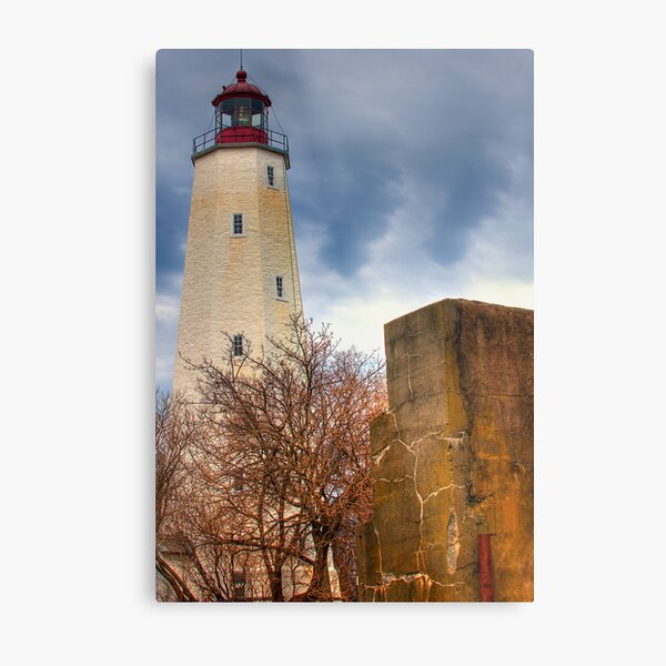 Barnegat Light and The Fort Metal Print