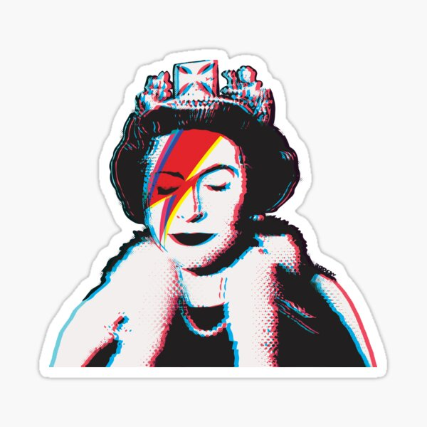 Banksy UK England God Save the Queen Elisabeth with David Bowie rockband face makeup lightning red and blue 3D anaglyph Retro effect HD HIGH QUALITY ONLINE STORE Sticker