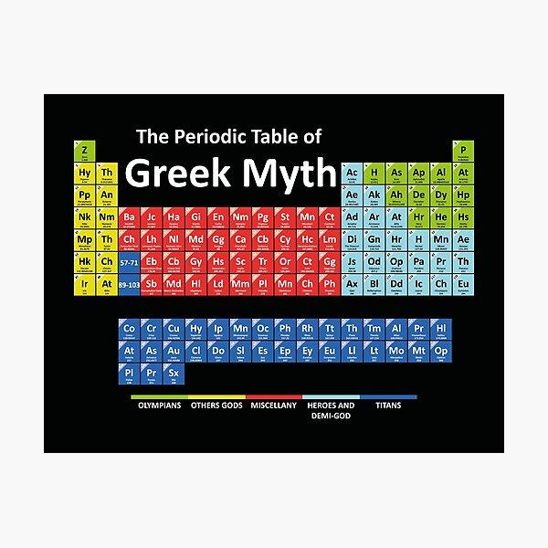 Periodic Table of Greek Mythology Photographic Print