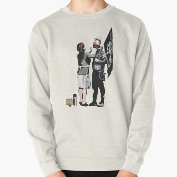 Banksy graffiti mom and punk with anarchist flag Protest Don't forget to eat your lunch and make some trouble quote on beige and white background HD HIGH QUALITY ONLINE STORE Pullover Sweatshirt