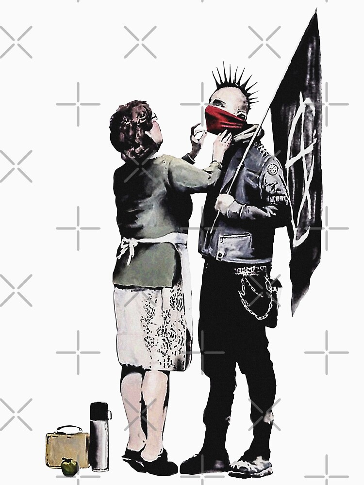 Banksy graffiti mom and punk with anarchist flag Protest Don't forget to eat your lunch and make some trouble quote on beige and white background HD HIGH QUALITY ONLINE STORE by iresist