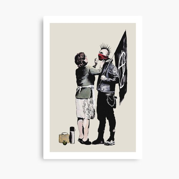 Banksy graffiti mom and punk with anarchist flag Protest Don't forget to eat your lunch and make some trouble quote on beige and white background HD HIGH QUALITY ONLINE STORE Canvas Print