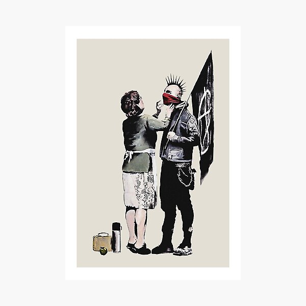 Banksy graffiti mom and punk with anarchist flag Protest Don't forget to eat your lunch and make some trouble quote on beige and white background HD HIGH QUALITY ONLINE STORE Photographic Print