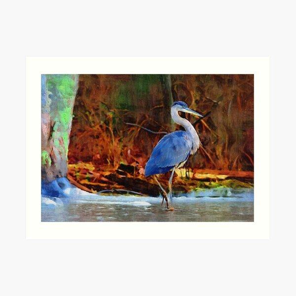 Heron on Ice Texture Painting Art Print