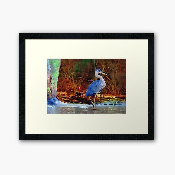 Heron on Ice Texture Painting Framed Art Print
