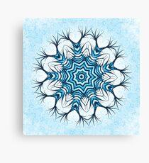 Snowflake Mandala In Blue Canvas Print