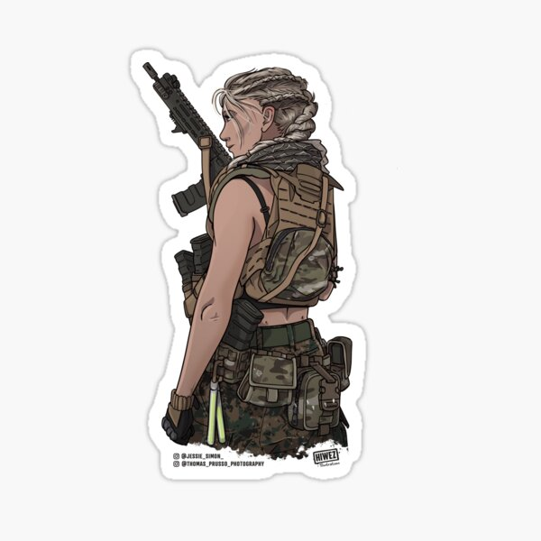 Special Ops Military Female Soldier Sticker