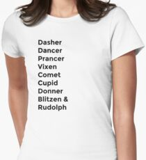 Nombres de renos Camiseta entallada para mujer